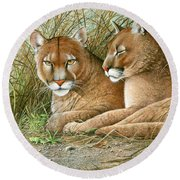 Florida Siblings Round Beach Towel