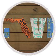 Florida State Love Heart License Plates Art Phrase Round Beach Towel