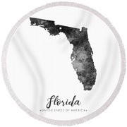 Florida State Map Art - Grunge Silhouette Round Beach Towel