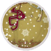 Florida State Seminoles Christmas Card 2 Round Beach Towel