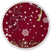 Florida State Seminoles Christmas Card Round Beach Towel