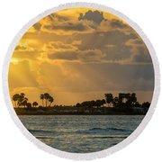 Florida Sunset-3 Round Beach Towel