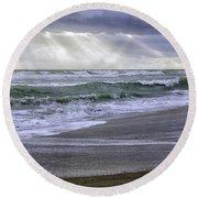 Florida Treasure Coast Beach Storm Waves Round Beach Towel