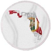 Florida Typographic Map Flag Round Beach Towel