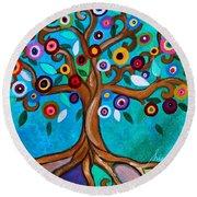Round Beach Towel featuring the painting Flourishing Tree by Pristine Cartera Turkus