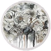 Floral Anxiety  Round Beach Towel
