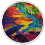 Round Beach Towel featuring the painting Flow by Jeanette French