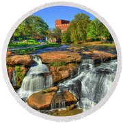 Flow On Reedy River Falls Park Art Greenville Sc Round Beach Towel by Reid Callaway
