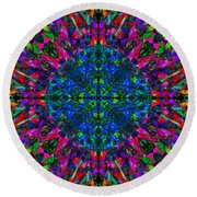 Flower Abstract 9 Round Beach Towel by Mike McGlothlen