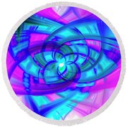 Flower Abstract Round Beach Towel by Penny Lisowski