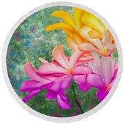 God Made Art In Flowers Round Beach Towel