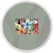 Flower And Ant Round Beach Towel