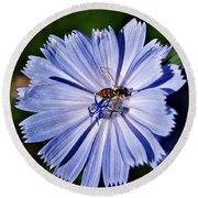 Flower And Bee 2 Round Beach Towel