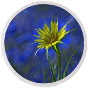 Flower And Flax Round Beach Towel