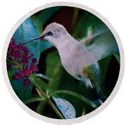 Flower And Hummingbird Round Beach Towel