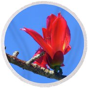 Flower And Sky Worship Round Beach Towel
