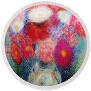 Flower Arrangement Round Beach Towel