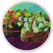 Flower Baskets Round Beach Towel