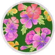 Flower Bed Design Round Beach Towel