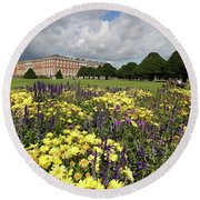 Flower Bed Hampton Court Palace Round Beach Towel