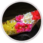 Flower Boat Round Beach Towel