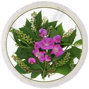 Flower Bouquet And Leaf Series Button Round Beach Towel