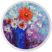 Flower Bouquet Modern Impressionistic Art Palette Knife Work Round Beach Towel