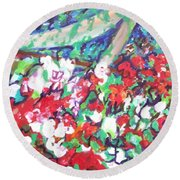 Flower Bower Round Beach Towel by Esther Newman-Cohen