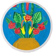 Flower Bowl Round Beach Towel