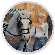 Round Beach Towel featuring the painting Flower Cart Man by Alan Lakin
