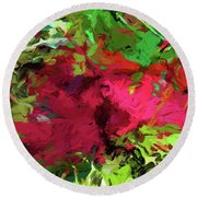 Flower Christmas Red Green Pink Round Beach Towel