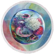 Round Beach Towel featuring the painting Flower Drop Blues by Robin Moline