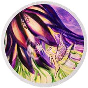 Flower Faerie Round Beach Towel