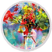 Flower Festival Round Beach Towel