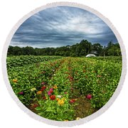 Flower Field At North Sea Farms Round Beach Towel