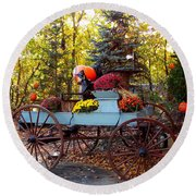 Flower Filled Wagon Round Beach Towel