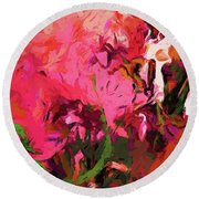 Flower Flames Soul Pink Round Beach Towel