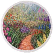 Flower Gar02den  Round Beach Towel