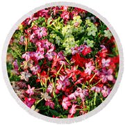 Flower Garden 1 Round Beach Towel