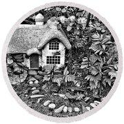 Flower Garden Cottage In Black And White Round Beach Towel