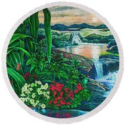 Round Beach Towel featuring the painting Flower Garden Ix by Michael Frank
