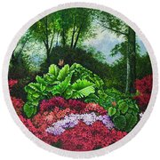 Round Beach Towel featuring the painting Flower Garden X by Michael Frank