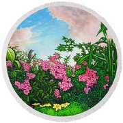 Round Beach Towel featuring the painting Flower Garden Xi by Michael Frank
