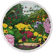 Round Beach Towel featuring the painting Flower Garden Xii by Michael Frank