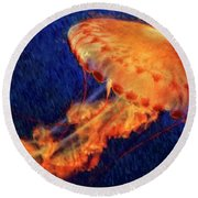 Flower Hat Jellyfish Round Beach Towel