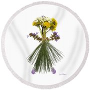 Flower Head Round Beach Towel by Lise Winne