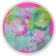 Abstract Flower In Pink Surround Round Beach Towel