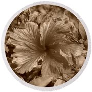 Flower In Sepia Round Beach Towel