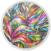 Flower Joy Round Beach Towel