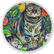 Round Beach Towel featuring the painting Flower Kitty by Robert Phelps